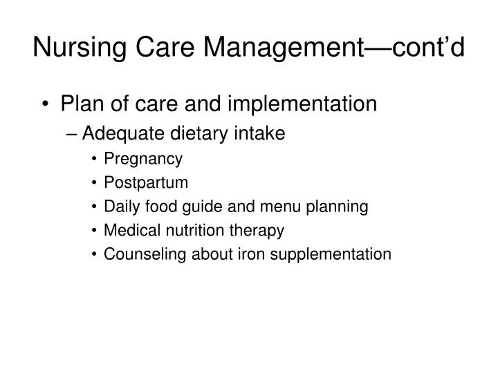 Nursing Care Management—cont'd