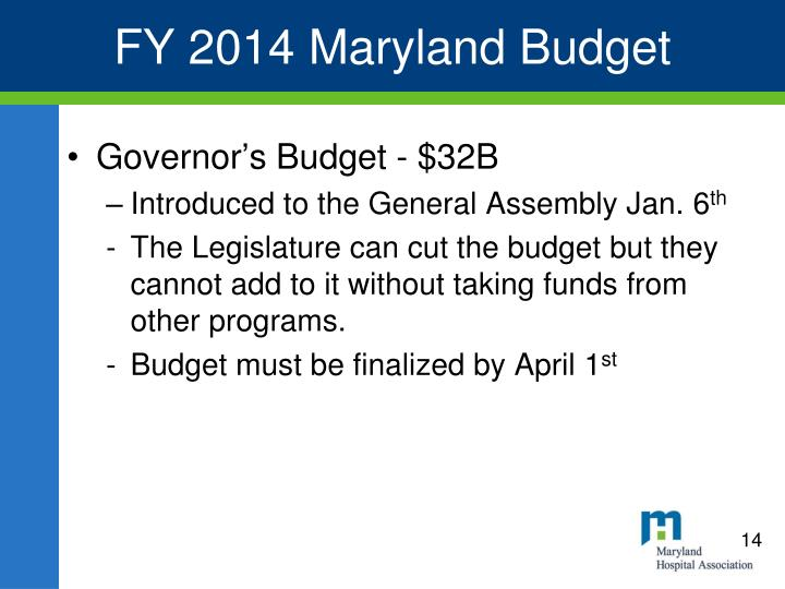 FY 2014 Maryland Budget
