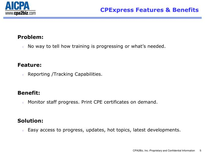CPExpress Features & Benefits