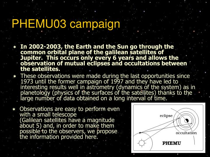 PHEMU03 campaign