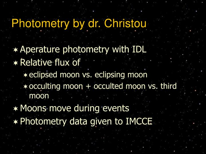 Photometry by dr. Christou