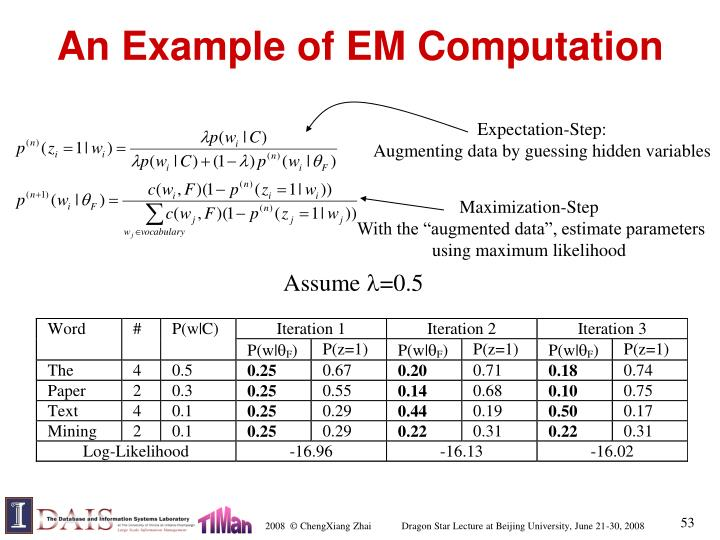 An Example of EM Computation