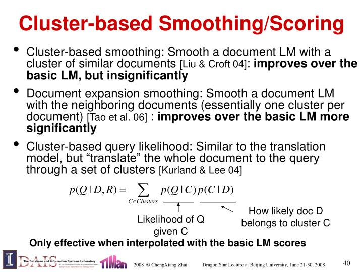 Cluster-based Smoothing/Scoring