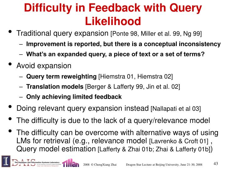 Difficulty in Feedback with Query Likelihood