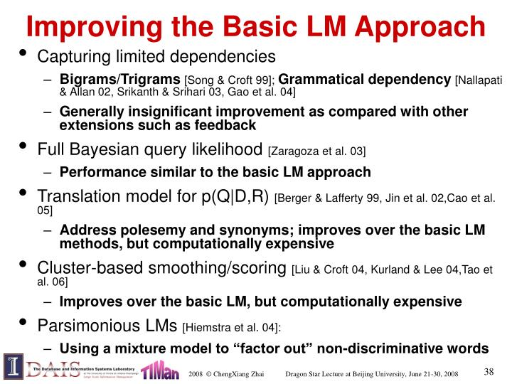 Improving the Basic LM Approach