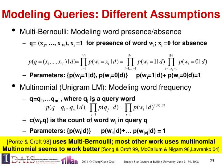 Modeling Queries: Different Assumptions