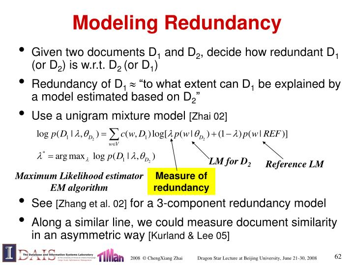 Modeling Redundancy