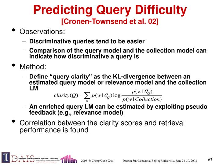 Predicting Query Difficulty