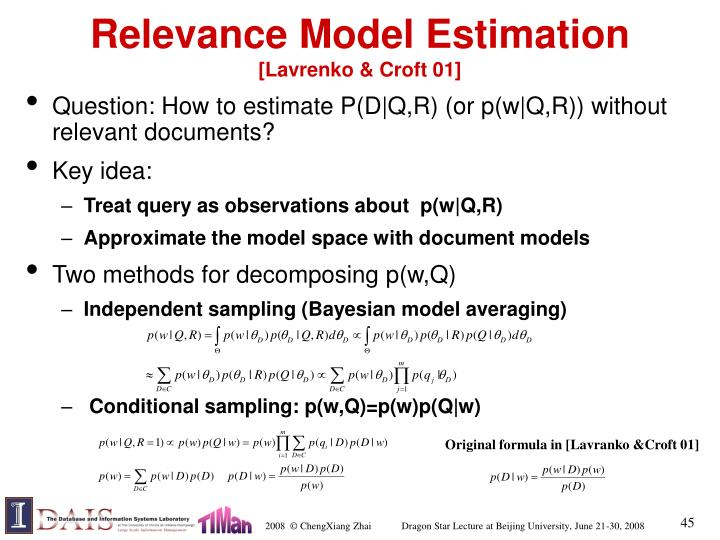 Relevance Model Estimation