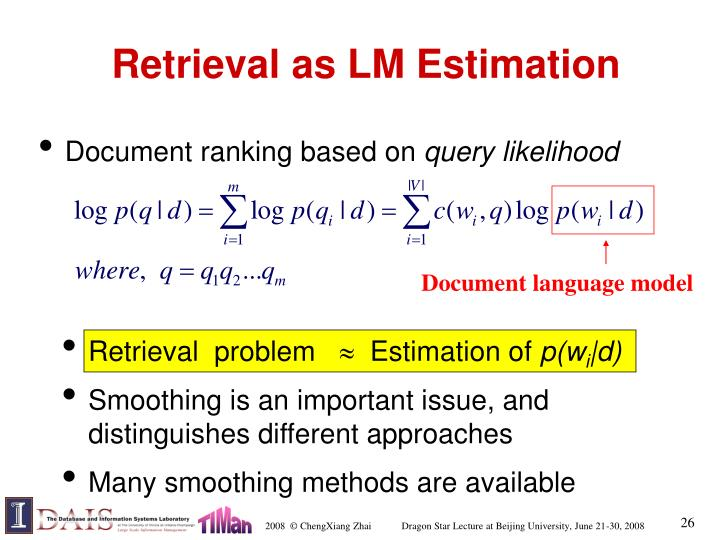 Retrieval as LM Estimation