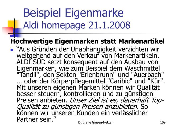 Beispiel Eigenmarke