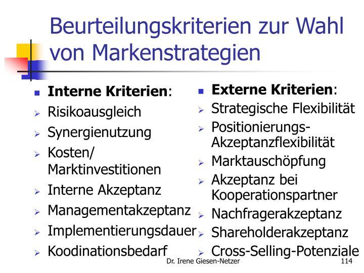 Interne Kriterien