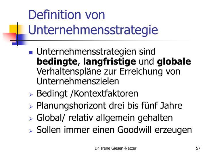Definition von Unternehmensstrategie