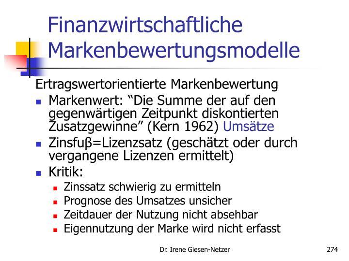 Finanzwirtschaftliche Markenbewertungsmodelle