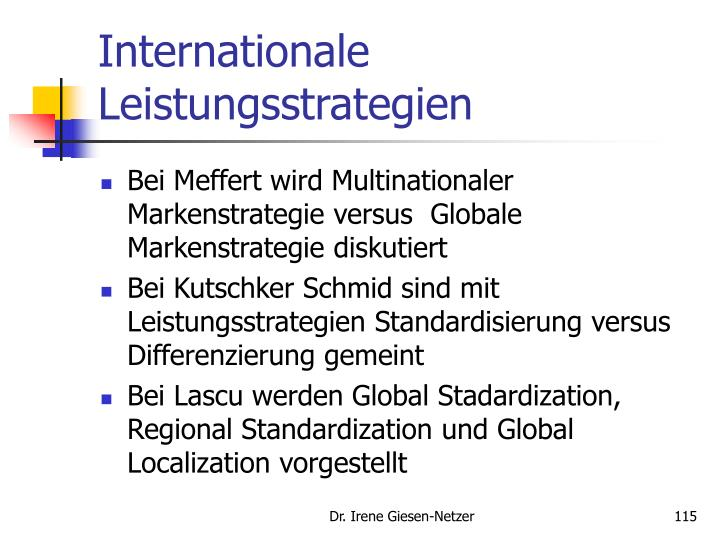 Internationale Leistungsstrategien