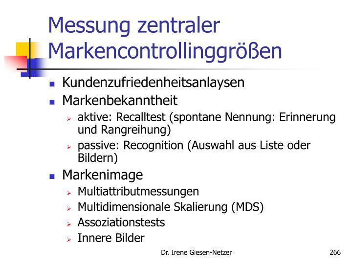 Messung zentraler Markencontrollinggr