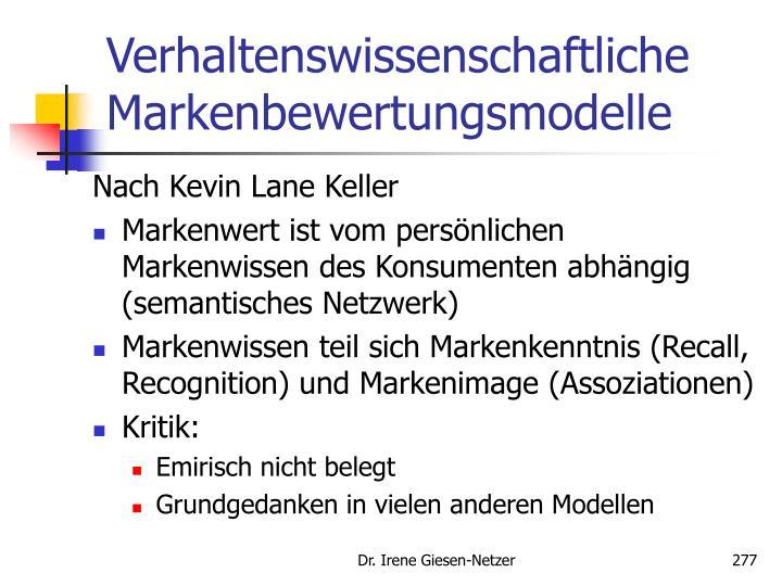 Verhaltenswissenschaftliche Markenbewertungsmodelle