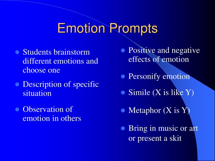 Students brainstorm     different emotions and choose one