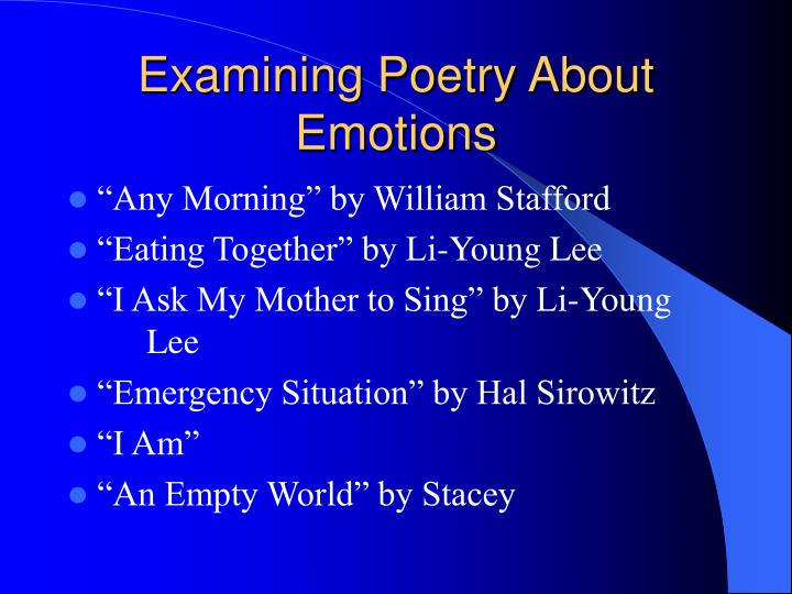 Examining Poetry About Emotions