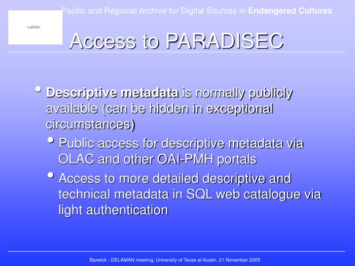 Access to PARADISEC