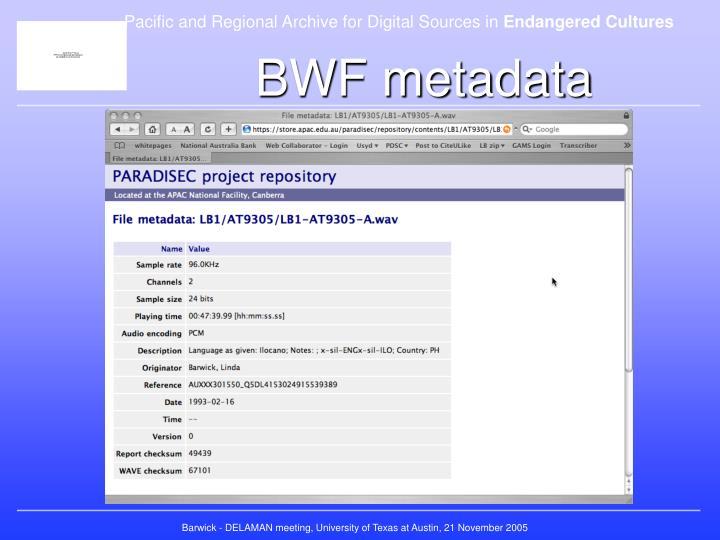 BWF metadata