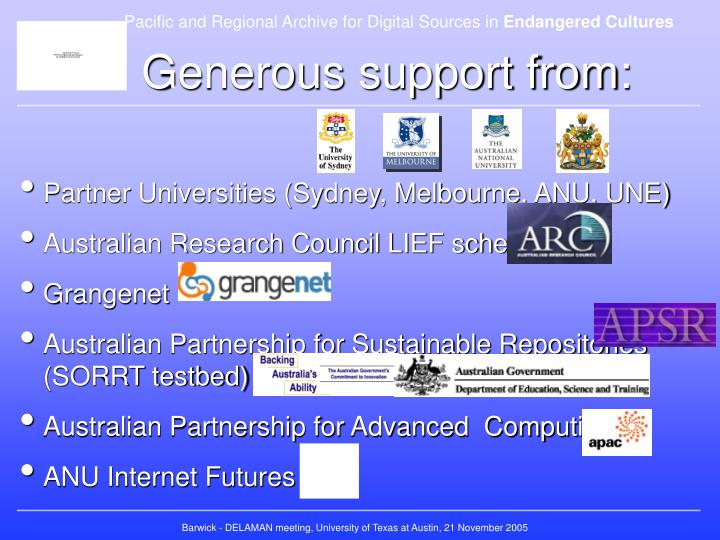 Generous support from: