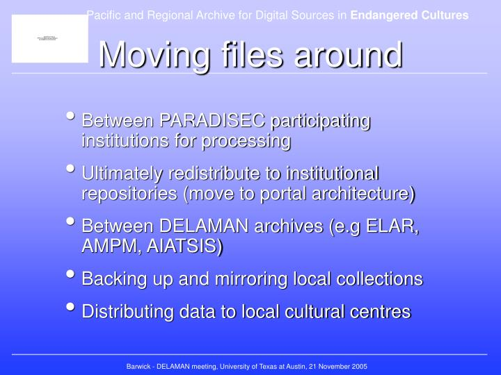 Moving files around