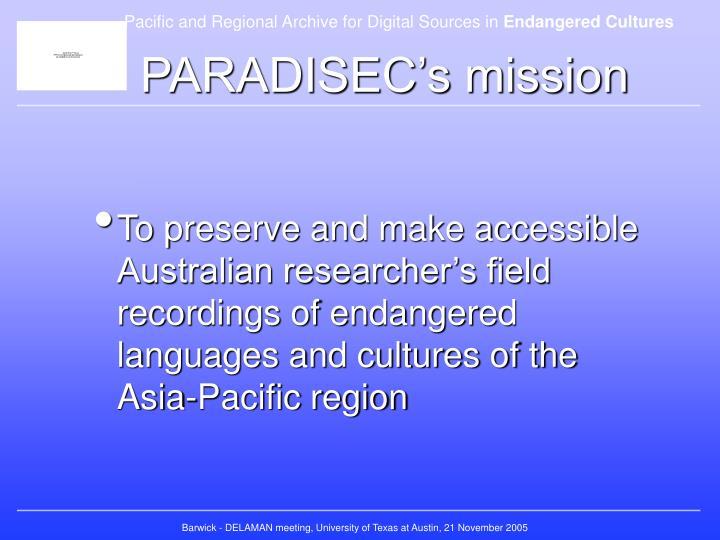 PARADISEC's mission