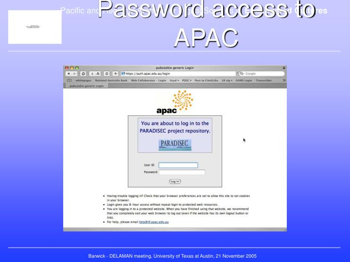 Password access to APAC