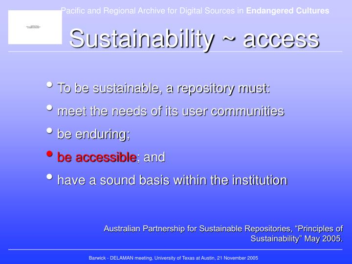 Sustainability ~ access
