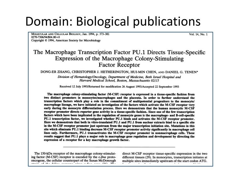 Domain: Biological publications