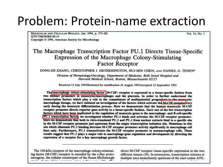 Problem protein name extraction