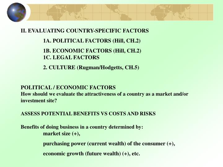 II. EVALUATING COUNTRY-SPECIFIC FACTORS