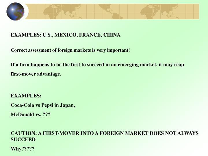 EXAMPLES: U.S., MEXICO, FRANCE, CHINA