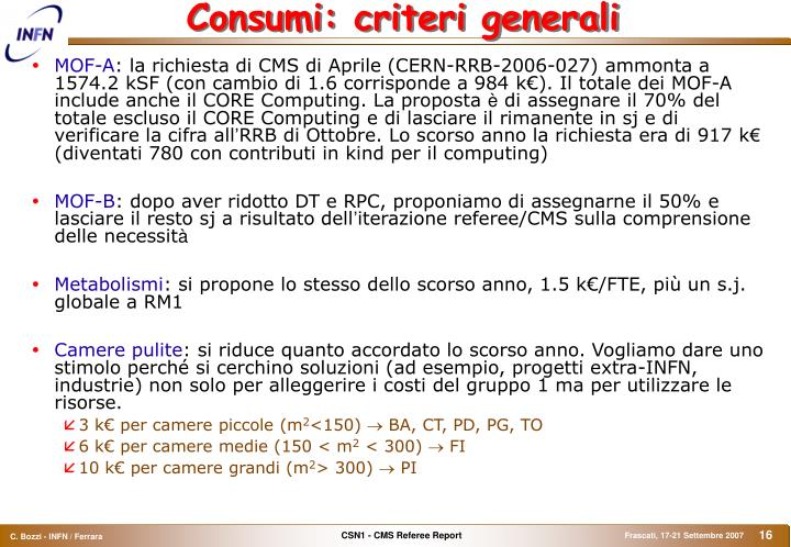Consumi: criteri generali