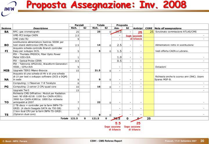 Proposta Assegnazione: Inv. 2008