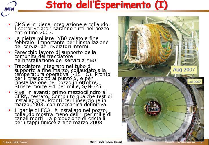 Stato dell'Esperimento (I)