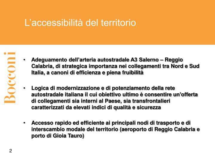 L'accessibilità del territorio