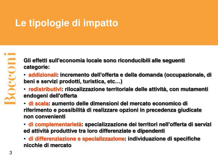 Le tipologie di impatto