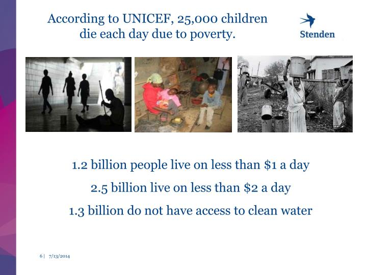 According to UNICEF, 25,000 children die each day due to poverty.