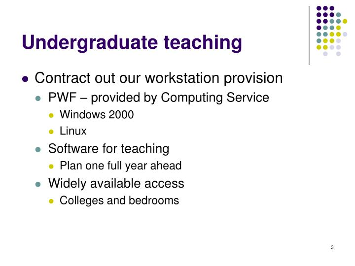 Undergraduate teaching