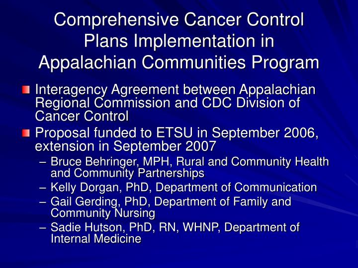 Comprehensive Cancer Control