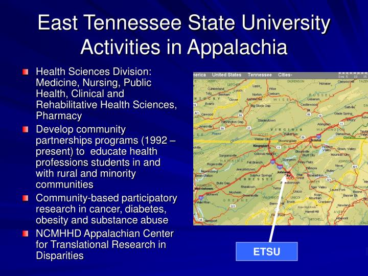 East Tennessee State University Activities in Appalachia