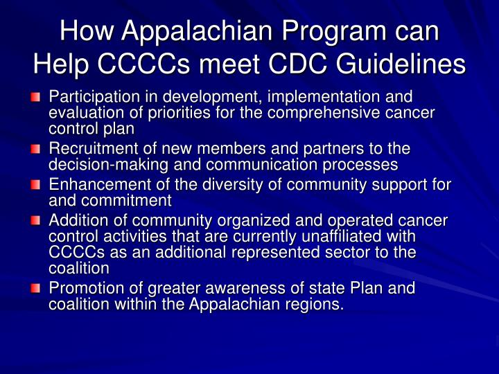 How Appalachian Program can Help CCCCs meet CDC Guidelines