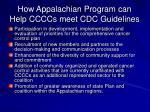 how appalachian program can help ccccs meet cdc guidelines
