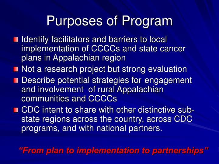 Purposes of Program