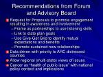 recommendations from forum and advisory board