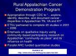 rural appalachian cancer demonstration program