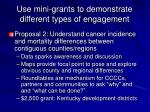 use mini grants to demonstrate different types of engagement1