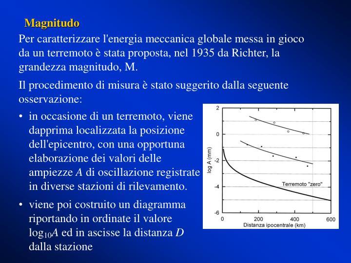Per caratterizzare l'energia meccanica globale messa in gioco da un terremoto è stata proposta, nel 1935 da Richter, la grandezza magnitudo, M.